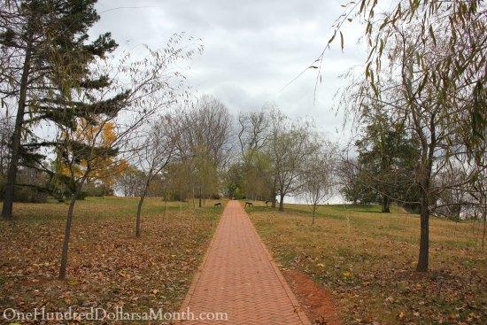monticello red brick path fall trees