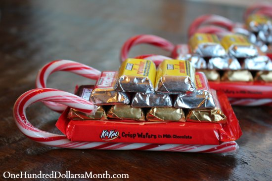 easy kids christmas candy crafts candy cane sleigh - Christmas Candy Sleigh