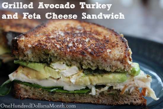 Grilled Avocado Turkey and Feta Cheese Sandwich