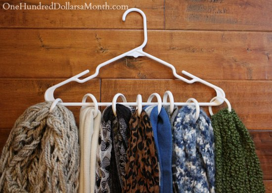 Use Shower Curtain Rings to Store Scarves