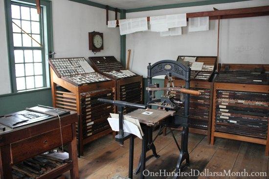 Old Sturbridge Village New England Living History Museum printing press