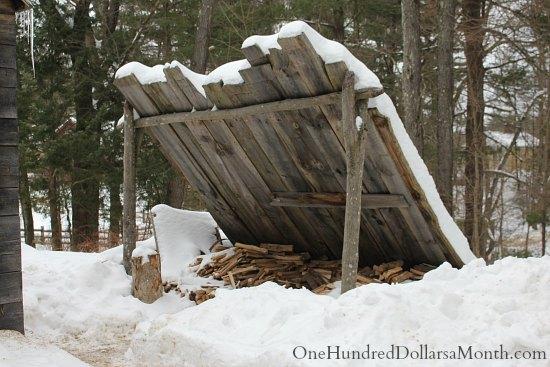 woodpile winter wood