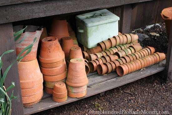 terra cotta pots with a patina