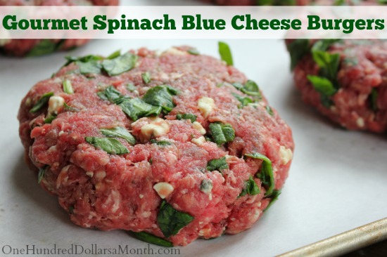 Freezer Meal - Gourmet Spinach Blue Cheese Burgers