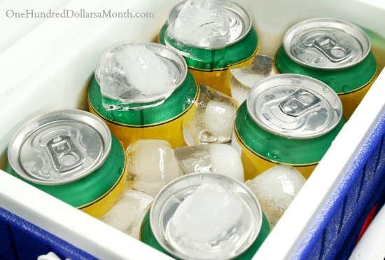 Cans in cooler with ice