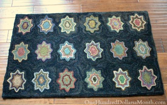 primitive hooked star rug
