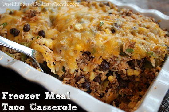 Freezer Meal  Taco Casserole