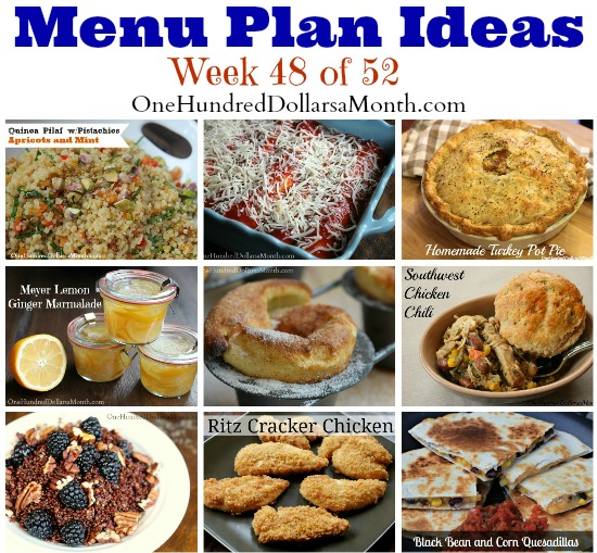 weekly menu plans