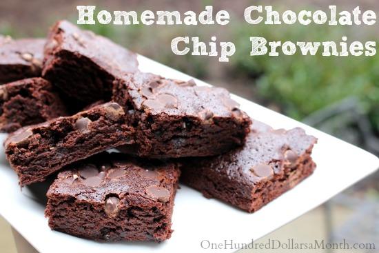 Homemade Chocolate Chip Brownies