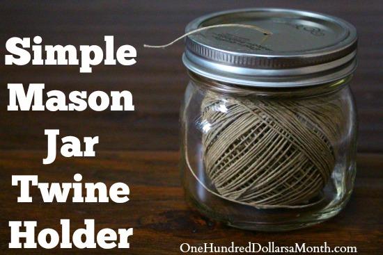 Simple Mason Jar Twine Holder