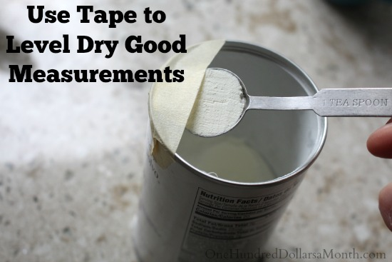 Use Tape to Level Dry Good Measurements