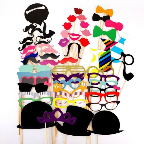 58PCS Colorful Props On A Stick Mustache Photo Booth Party Fun