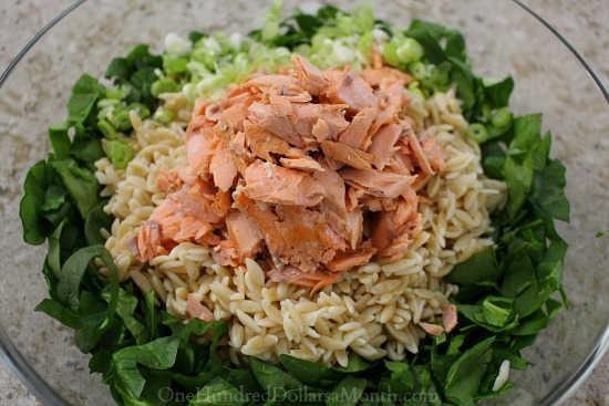 Salmon, Spinach, and Orzo Salad with Lemon-Dill Vinaigrette