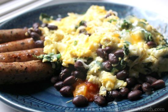 black beans and egg breakfast