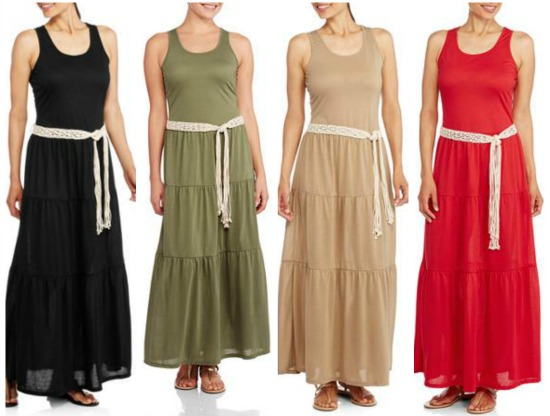 Faded Glory Womens Belted Maxi Dress