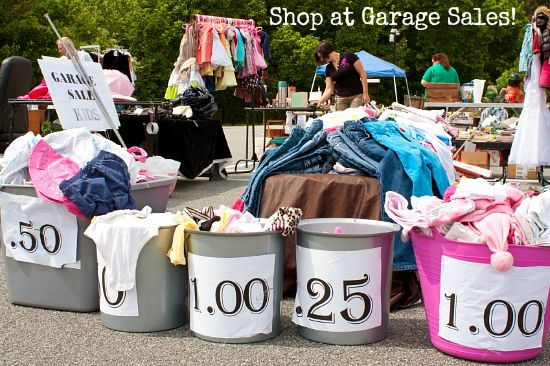 buying clothing at garage sales