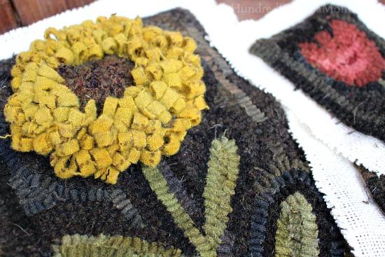 primitive hooked rug sunflower