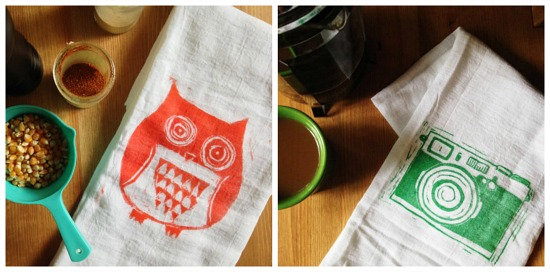 wood block flour sack towels