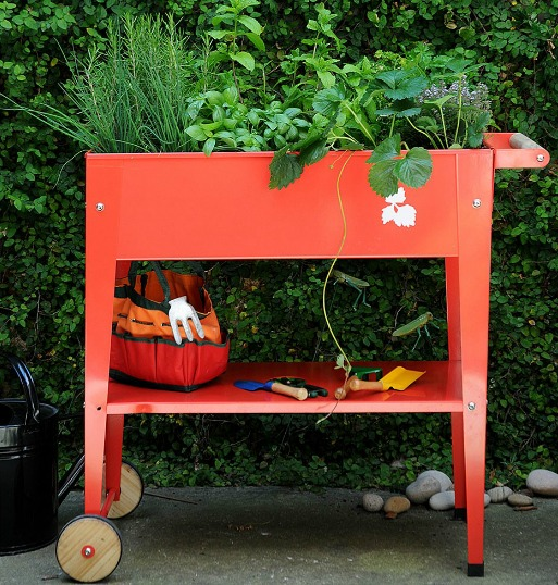 red enamel trolley