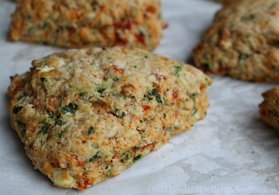 Tomato Feta Scones with Spinach