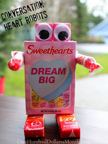 Easy Valentines Craft Conversation Heart Robots