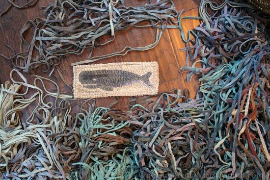 primitive hooked rug hooking wool whale
