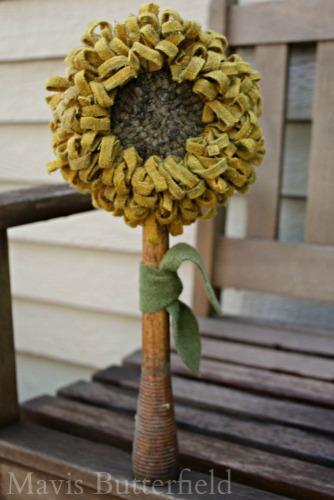 primitive hooked rug sunflower make do
