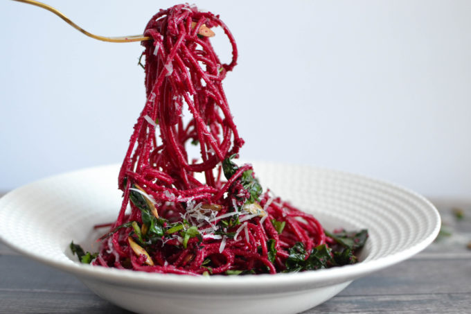 Roasted Beet Pesto And Greens Pasta Toss One Hungry Bunny