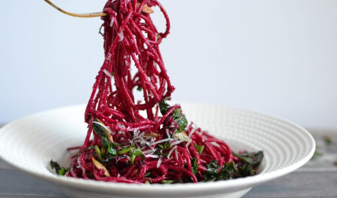 Roasted Beet Pesto and Greens Pasta Toss