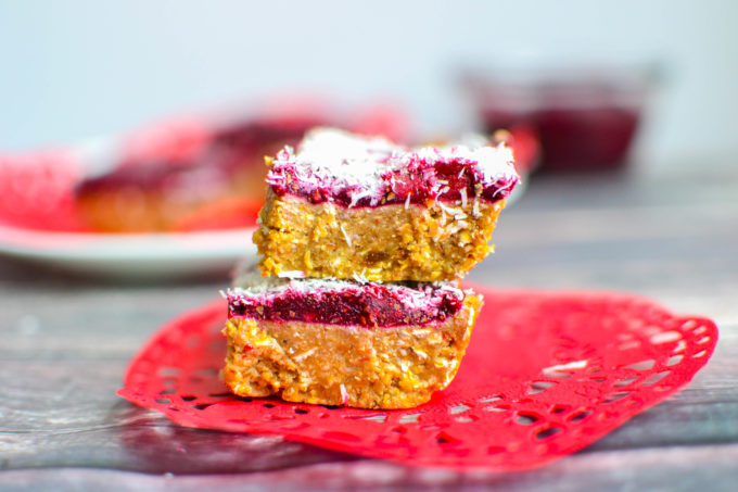 No Bake Almond Bars with Berry Chia Jam