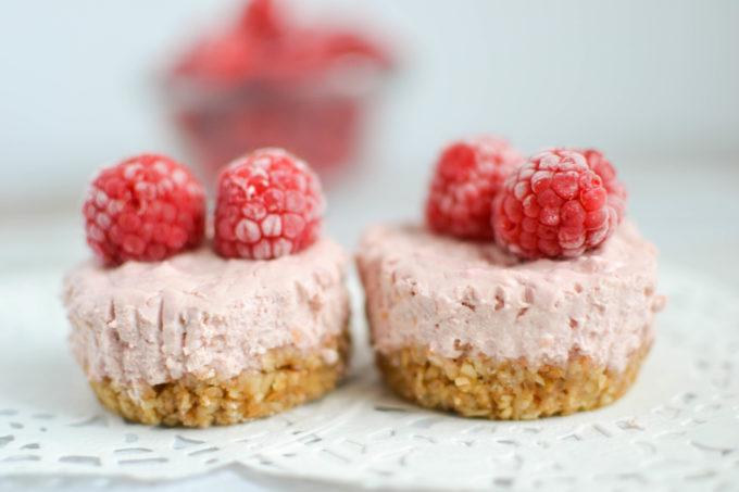 Berry Rhubarb Mini Cheesecake Bites