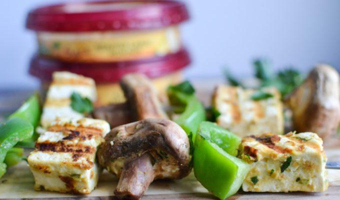 Tofu and Shrimp Skewers with Hummus Marinade