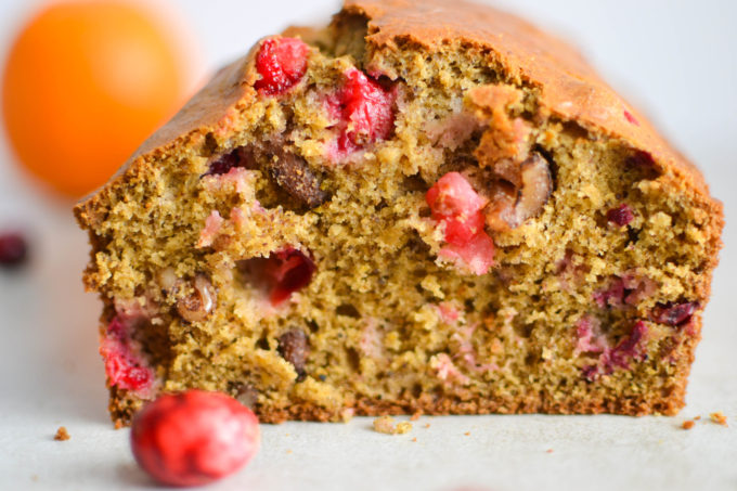 Healthy Ginger Orange Cranberry Bread