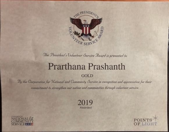 Prarthana Gold President's Service Award 2019