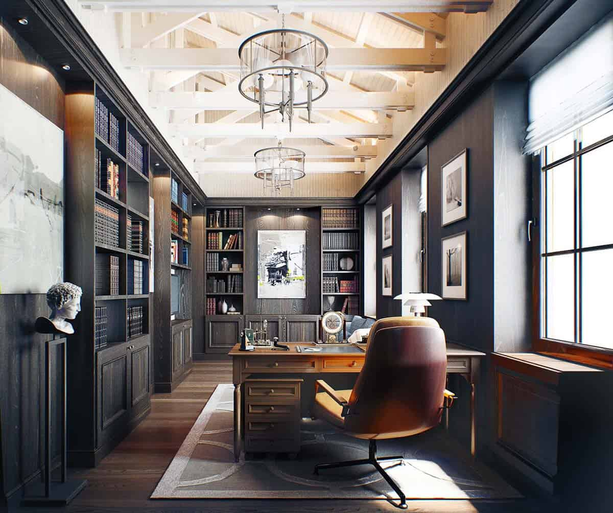 Houzify Home Design Ideas: 28 Dreamy Home Offices With Libraries For Creative Inspiration