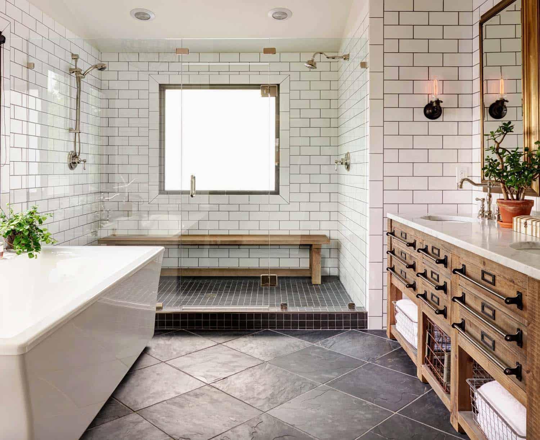 21 Gorgeous farmhouse style bathrooms you will love on Farmhouse Tile Bathroom Floor  id=37444