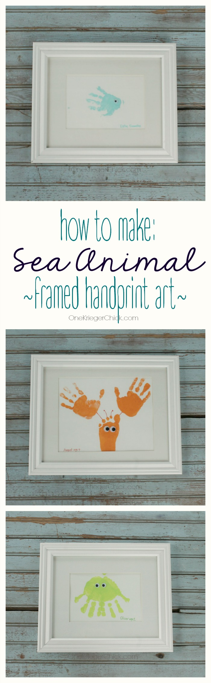 How to Make Sea Animal Framed Handprint Art by One Krieger Chick | Mabey She Made It | #handprint #decor #seaanimal