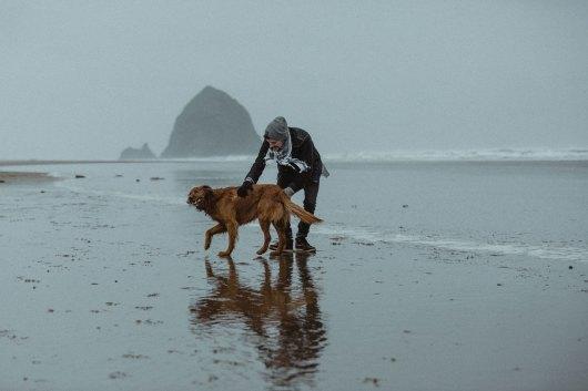 Pacific Ocean Cannon Beach Dog