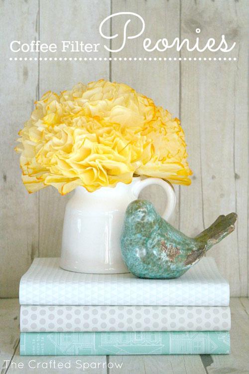 20 Beautiful Coffee Filter Crafts - Coffee Filter Peonies Flowers