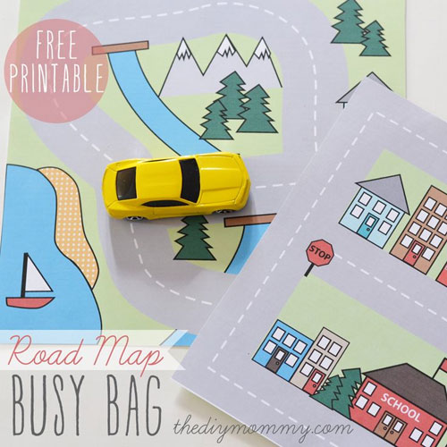 40+ DIY Travel Activities - Road Map Busy Bag