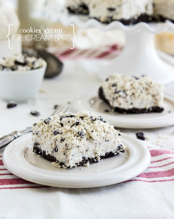 50+ Best Squares and Bars Recipes - Cookies and Cream Ice Cream Bars