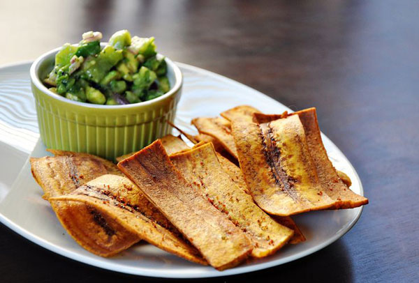 50+ Best Kiwi Recipes - Fried Plantain Chips with Avocado Kiwi Salsa