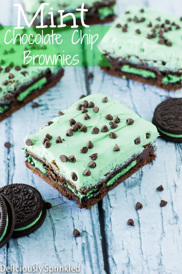 50+ Best Squares and Bars Recipes - Mint Chocolate Chip Brownies