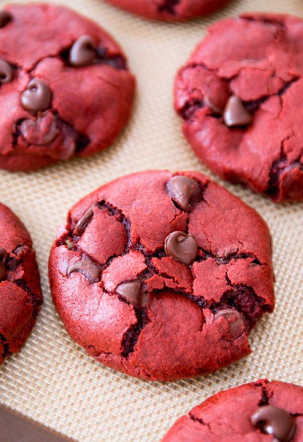 50+ Best Cookie Recipes - Red Velvet Chocolate Chip Cookies