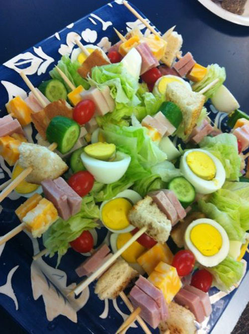 50+ Food on a Stick Lunch Ideas - Chef Salad On A Stick