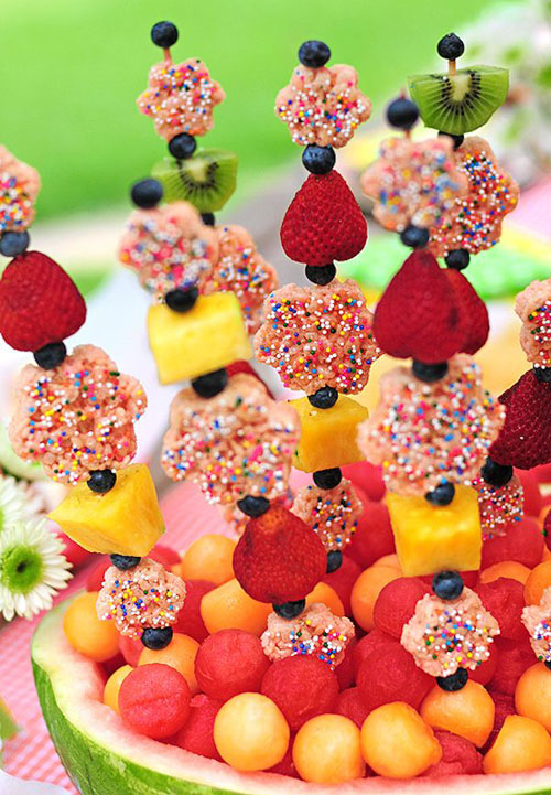 50+ Food on a Stick Lunch Ideas - Fruity Rice Krispies Kabobs