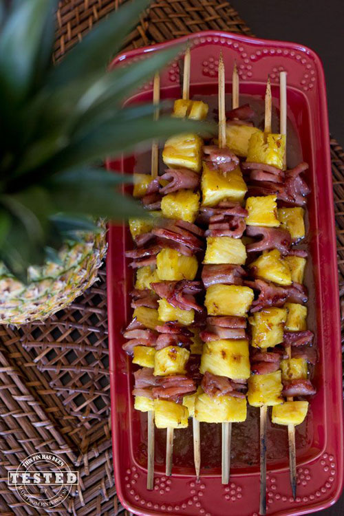 50+ Food on a Stick Lunch Ideas - Glazed Ham and Pineapple Kabobs