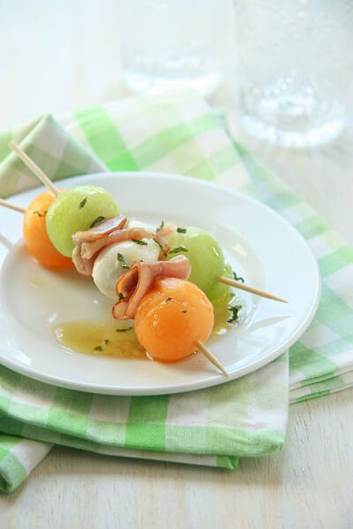 50+ Food on a Stick Lunch Ideas - Melon, Mozzarella and Prosciutto Skewers
