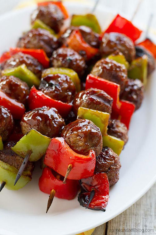 50+ Food on a Stick Lunch Ideas - Sweet and Sour Meatball Skewers