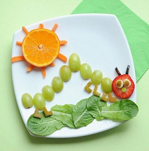 50+ Kids Food Art Lunches - Grape Caterpillar
